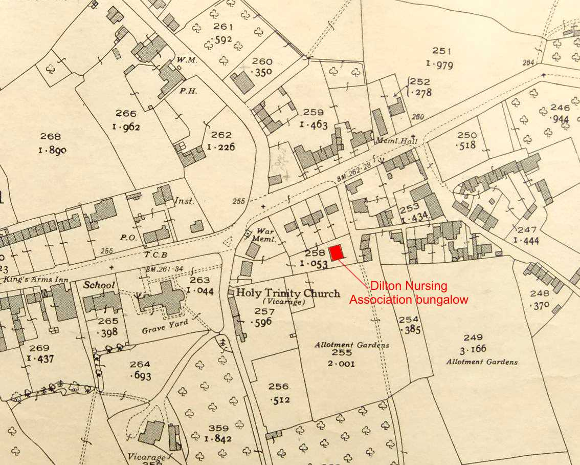 1941 map showing Dilton Nursing Association bungalow
