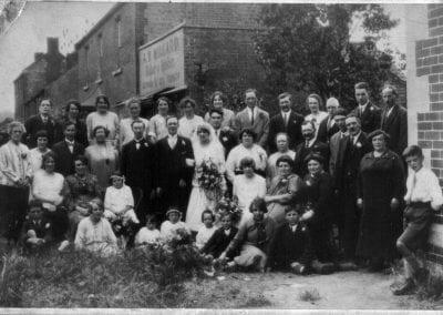 Wedding group outside Memorial Hall 1926